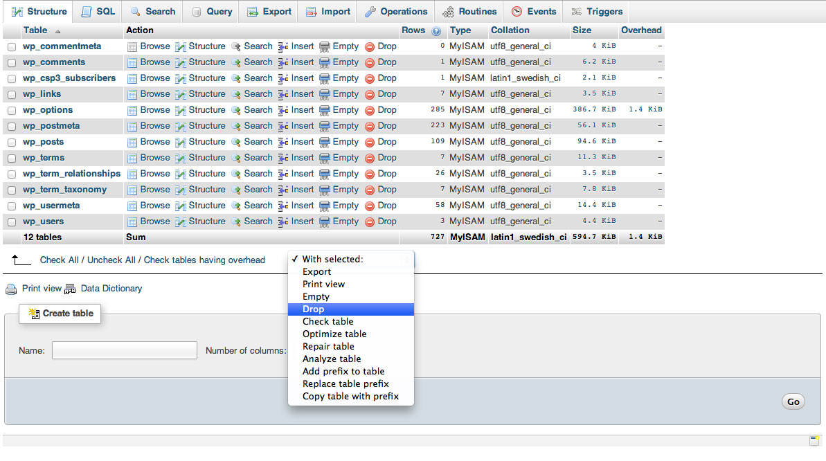 how to delete database in phpmyadmin query