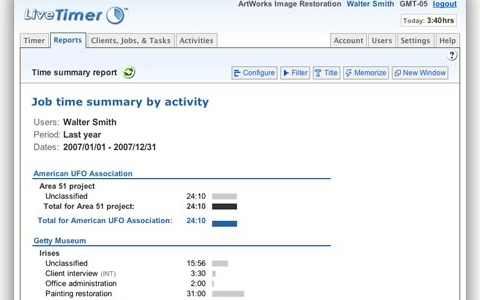 LiveTimer Summary Report Screenshot