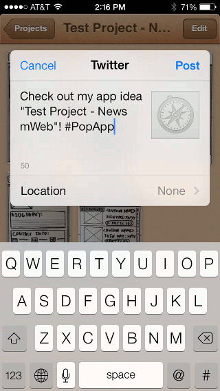 Exporting POP prototype to a social network
