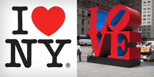 I love New York logo and LOVE sculpture