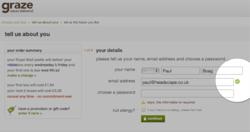 Graze.com signup with positive feedback