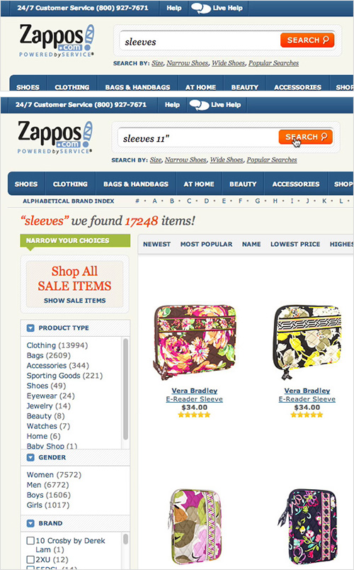 Zappos persist the users saerch query