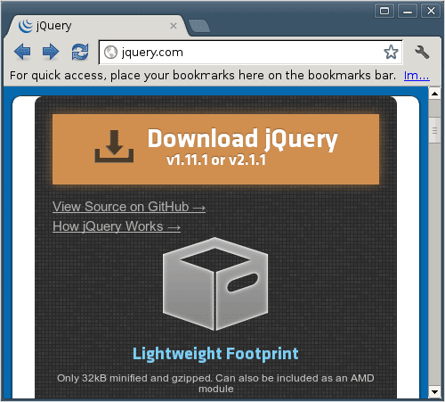 Downloading jQuery is very easy.