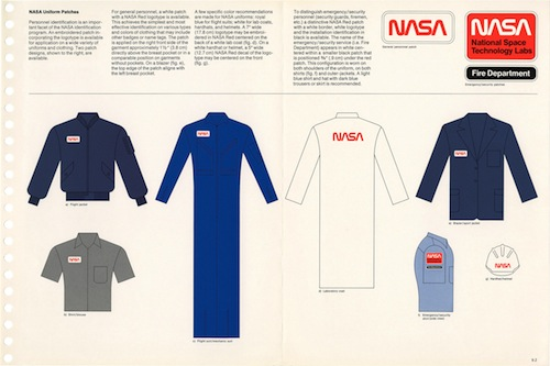 A page from the NASA Graphics Manual depicting logo placement on uniforms for the fire department.