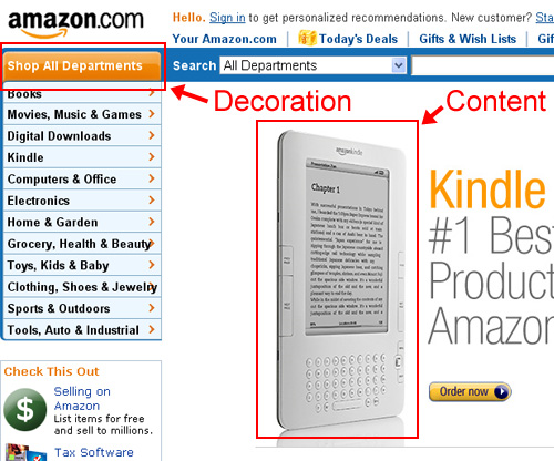 Amazon correctly differentiates between content and decoration