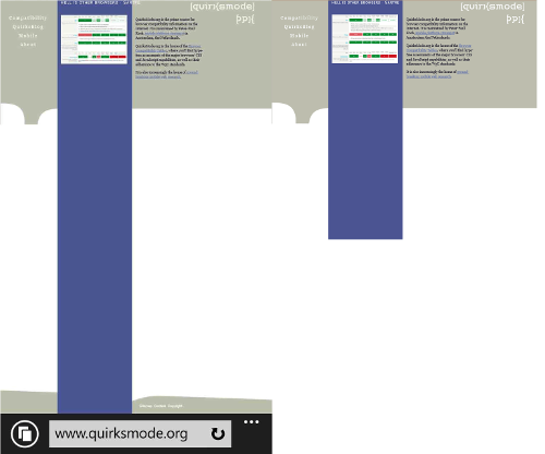 Nokia Lumia (left), IE emulation (right)