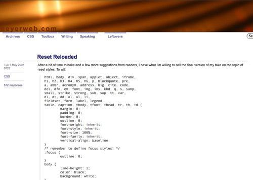 Eric Meyer's CSS Reset