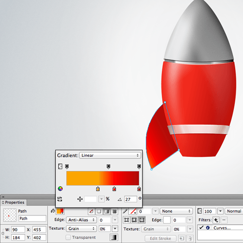 The left fin of the rocket