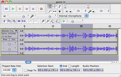Editing audio in Audacity