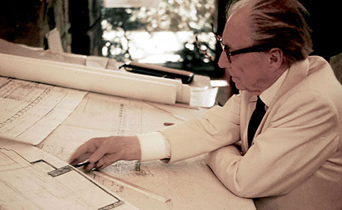 Frank Lloyd Wright sketching plans for Marin County Civic Center