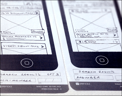 Initial sketches for mobile screens