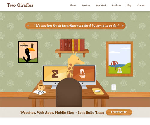 Two Giraffes' illustration rich homepage design