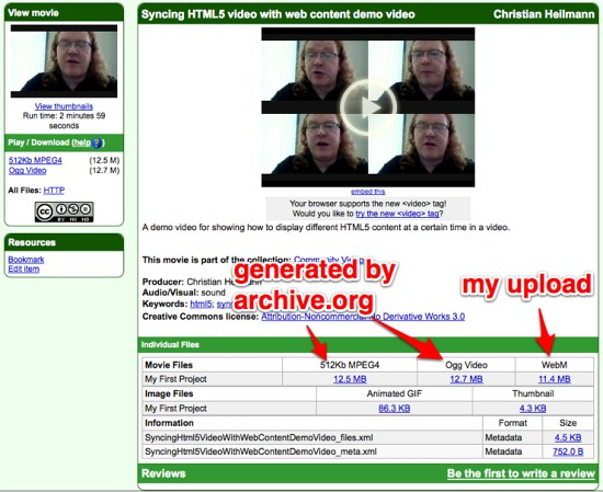 Different versions of an uploaded video by archive.org