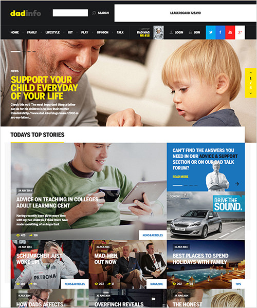 Homepage design of Dad Info