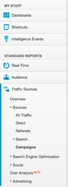 View of Google Analytics' left nav