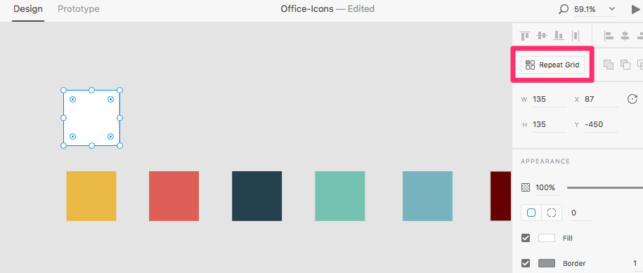 Create a square above palette colors and click on Repeat Grid