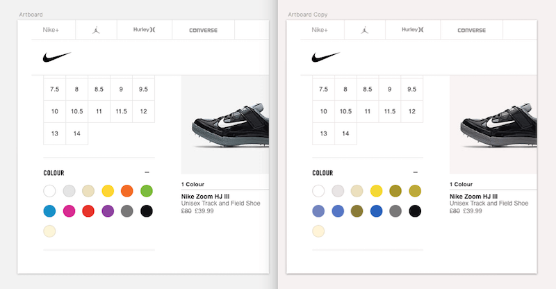 Product pages for Nike sneakers featuring color swatches.