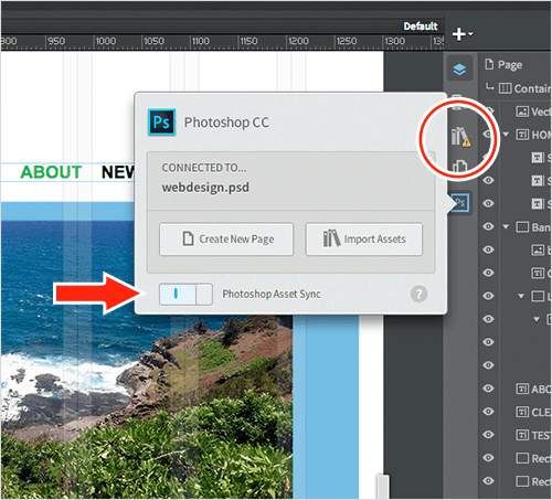 Updating Photoshop content in turn updates Reflow content.