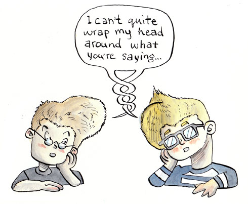Left brain, right brain cartoon - Website collaboration article