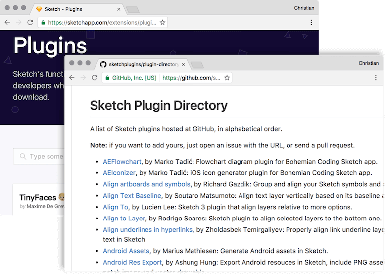 There's a huge selection of plugins available for Sketch, both on the official site and GitHub.