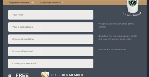 Showcase of Design Elements - Short Registration Forms