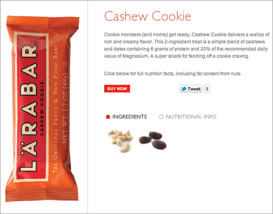 Product page for Larabar.com