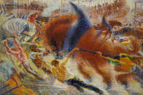 <em>Umberto Boccioni, </em>The City Rises,<em> 1910.</em>