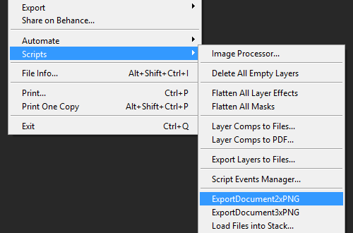 Go into Scripts and click ExportDocument2xPNG or ExportDocument3xPNG