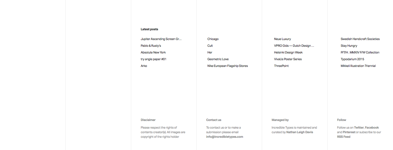 Screenshot of the footer from the home page of the Incredible Types website