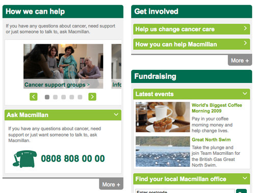 Collapsable panels on Macmillan Cancer Support home page