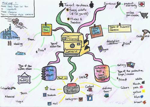 Concept map for the Polaroid camera as part of a design exercise.