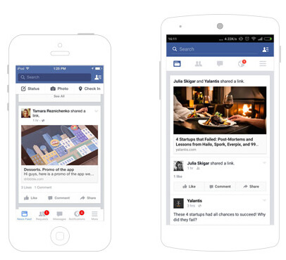 Facebook for iOS and Android