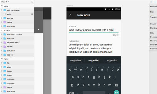 Forms in material design morph. Depending on their state, placeholder text becomes labels.