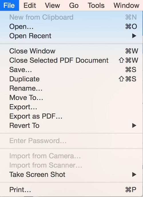 Mac OS Modern Document Model file menu