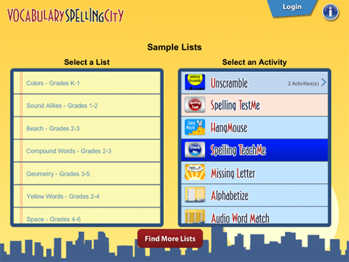 VocabularySpellingCity menu