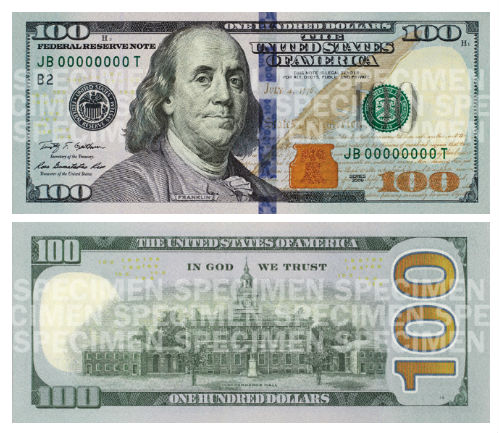 Redesigned 100 Dollar Bill