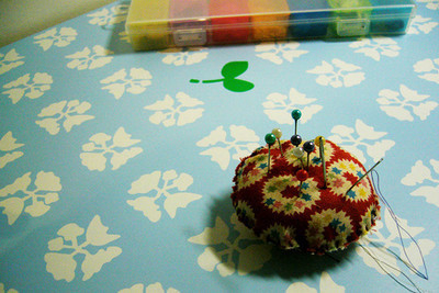 Pins, Badges and Buttons - old pin cushion