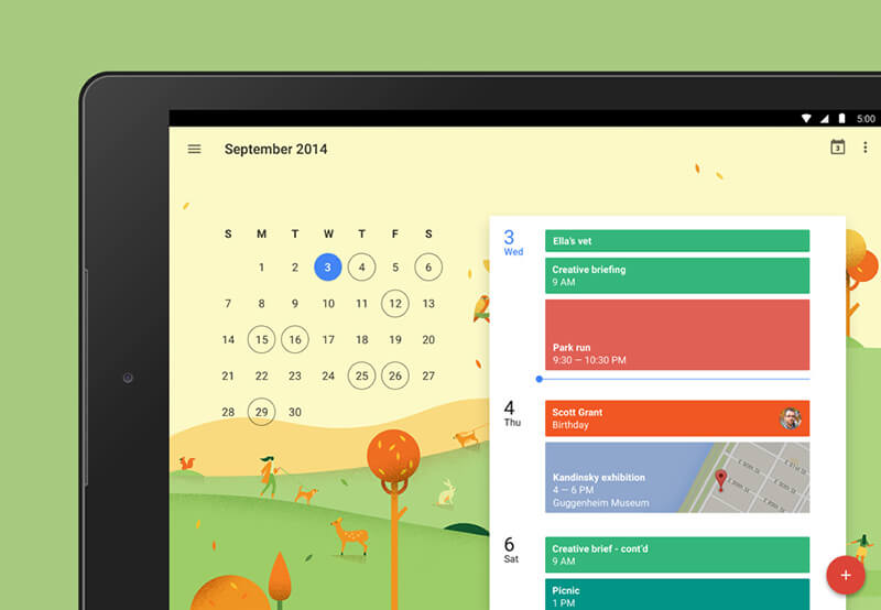 An illustration of the month in Google Calendar