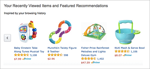 My wife's Amazon recommendations, heavily influenced by a recent addition to our family