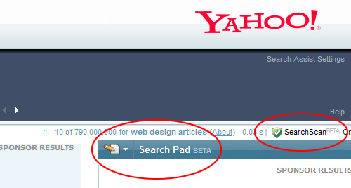 Yahoo's Search Pad and Search Scan