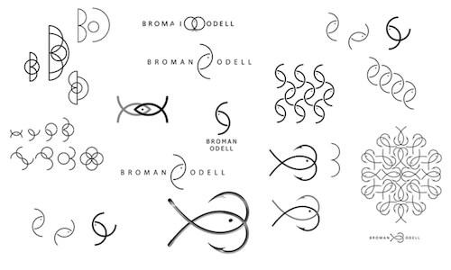 Logo process for Swedish fish tackle company Broman Odell.