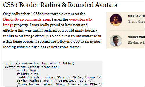 CSS3 Border-Radius and Rounded Avatars