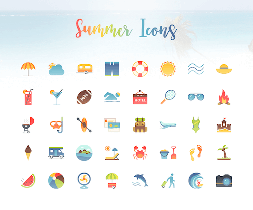 40 Vibrant Summer Icons [Freebie]