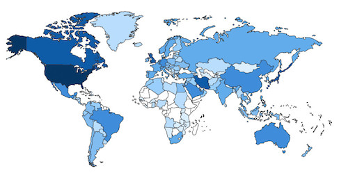 The map above shows Free Time usage around the world in 2013.