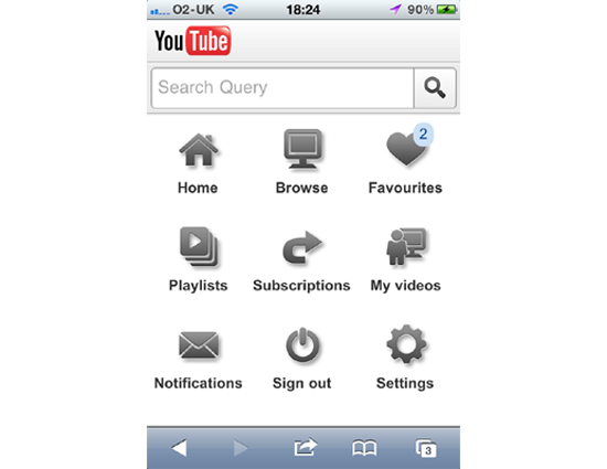 YouTube's HTML5-based mobile homepage