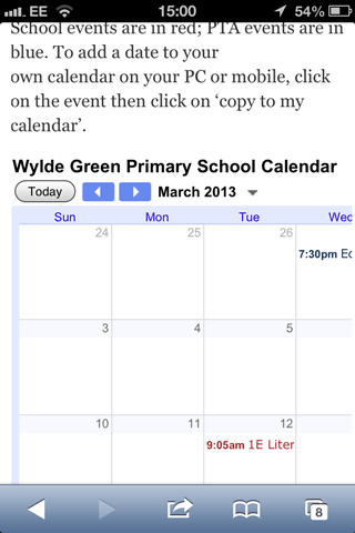 A celandar as seen on a responsive website on an iPhone - not all of the calendar is visible
