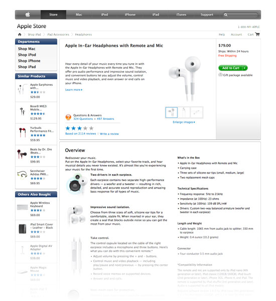 A product detail page at store.apple.com.