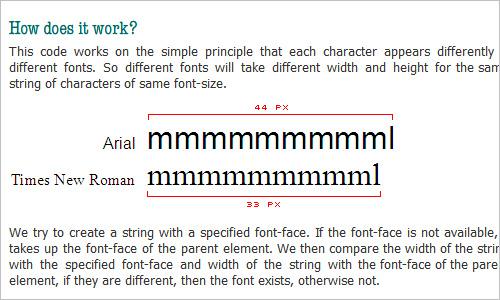 JavaScript / CSS Font Detector