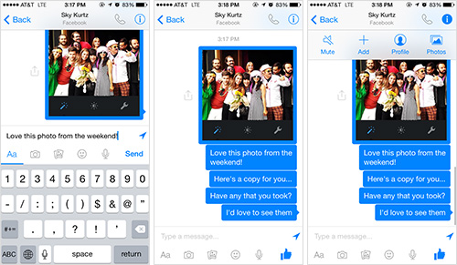 Discussing photos with Facebook's Mobile App