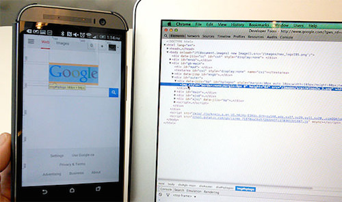 Remote debugging Android. Here the DOM Inspector in the desktop browser is inspecting the page on the mobile device.